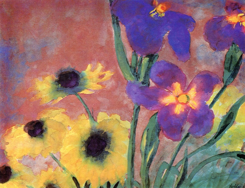 Daisies and Irises by Emil Nolde