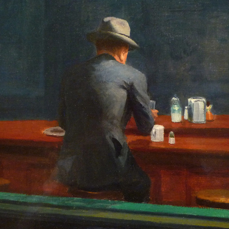 Nighthawks (detail) by Edward Hopper | Lone Quixote