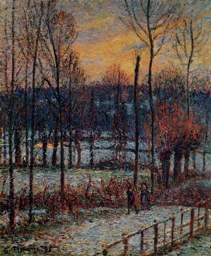 The Effect of Snow, Sunset, Eragny by Camille Pissarro