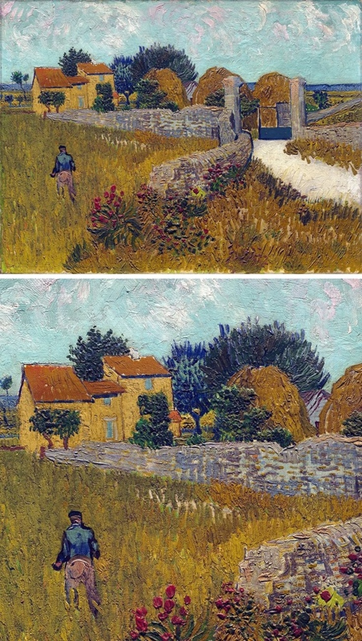 Farmhouse in Provence by Vincent van Gogh with Detail View