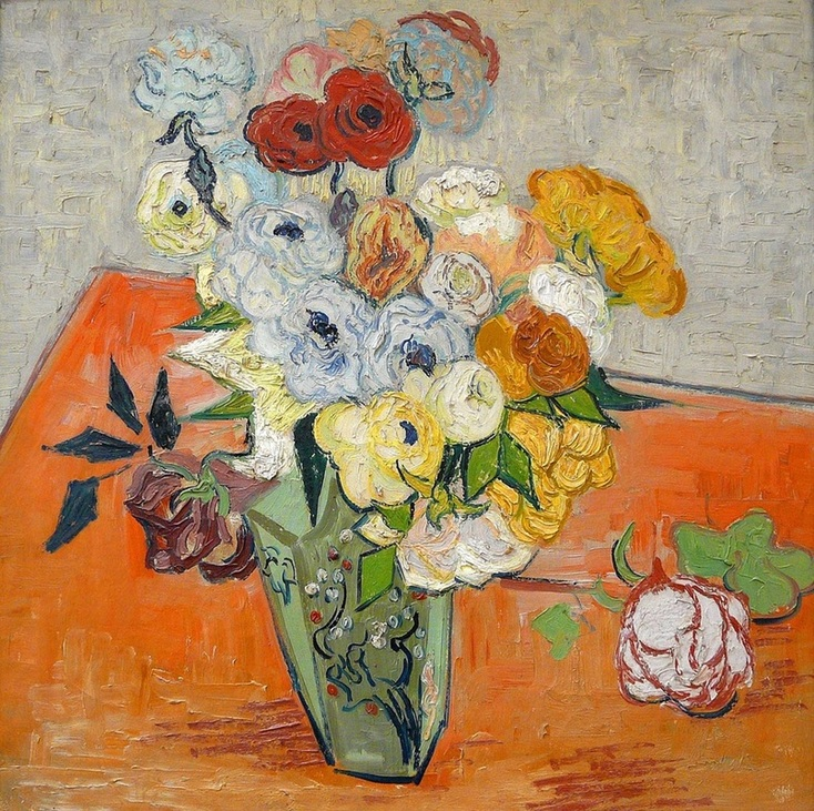 Japanese Vase with Roses and Anemones by Vincent van Gogh