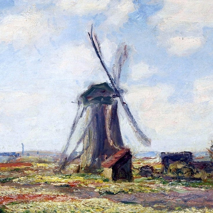 Fields of Tulip With The Rijnsburg Windmill (detail) by Claude Monet