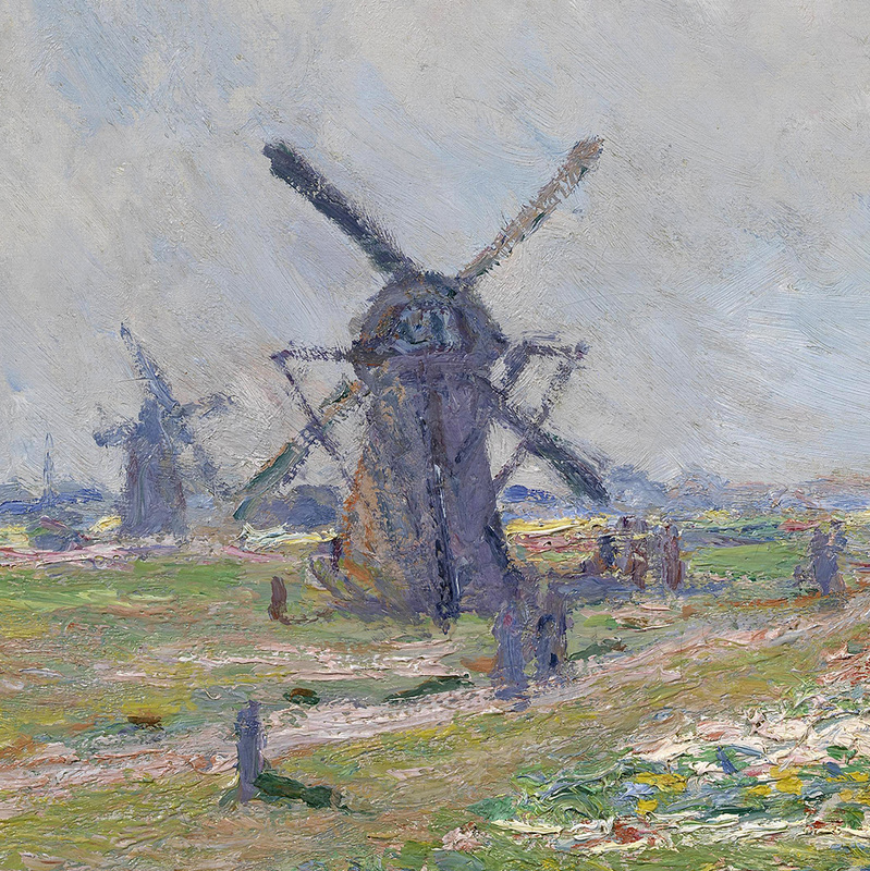 Fields of Flowers and Windmills near Leiden (detail) by Claude Monet | Lone Quixote