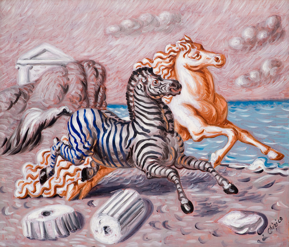 Horse and Zebra on the Beach by Giorgio de Chirico