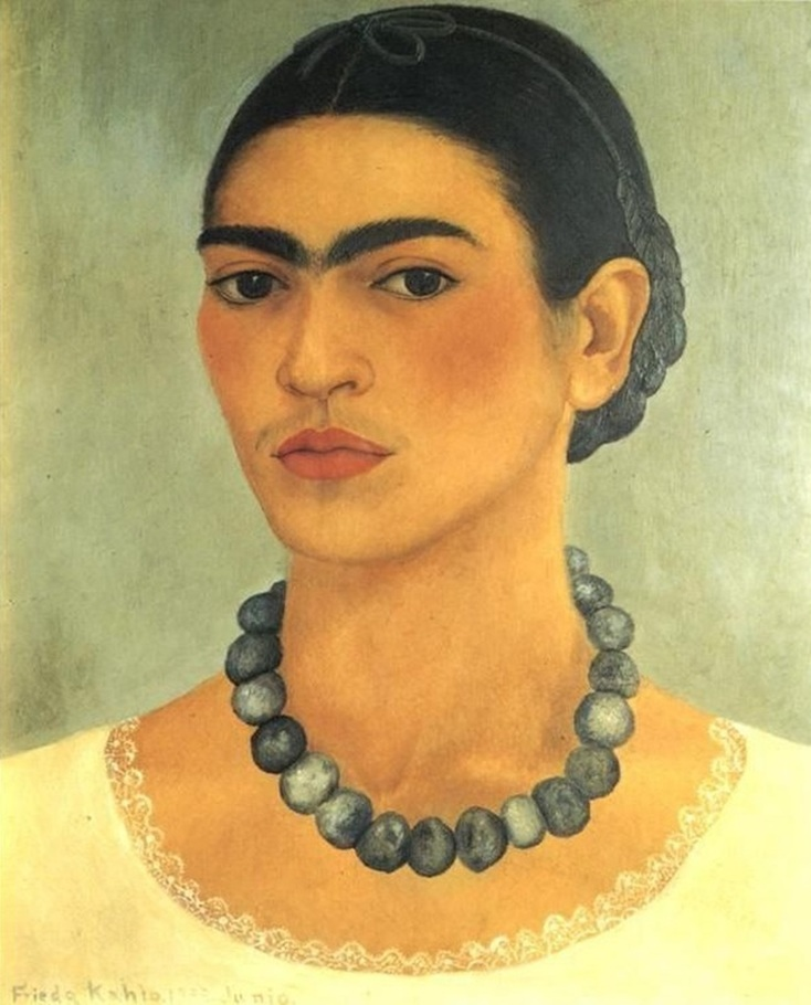 Self Portrait With Necklace by Frida Kahlo | Lone Quixote