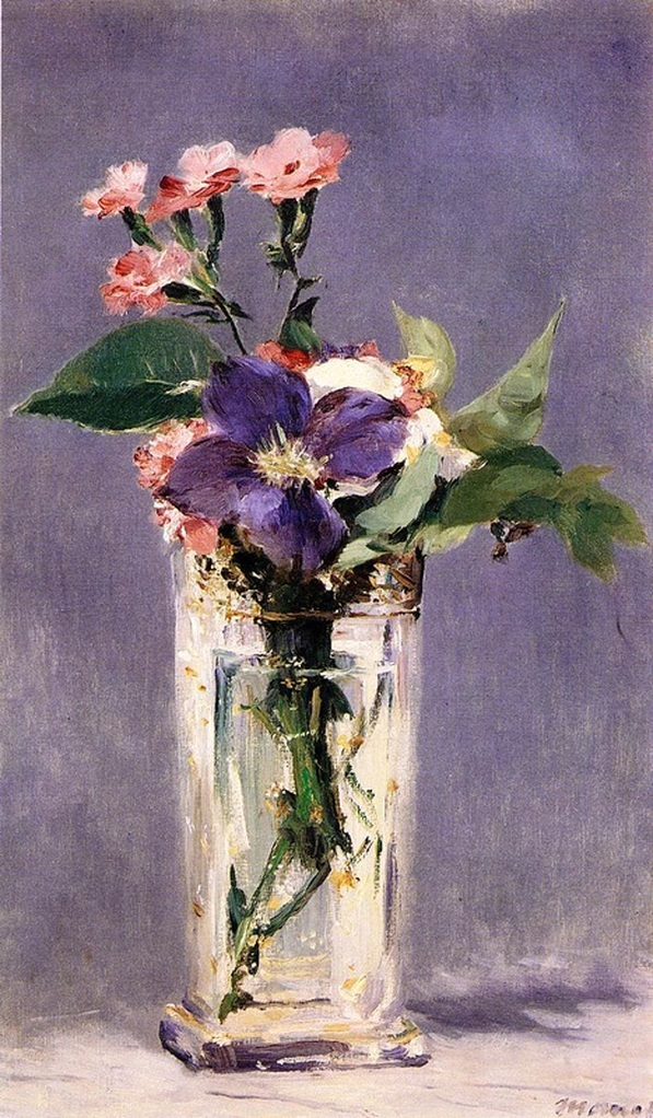 Pinks and Clematis in a Crystal Vase by Edouard Manet