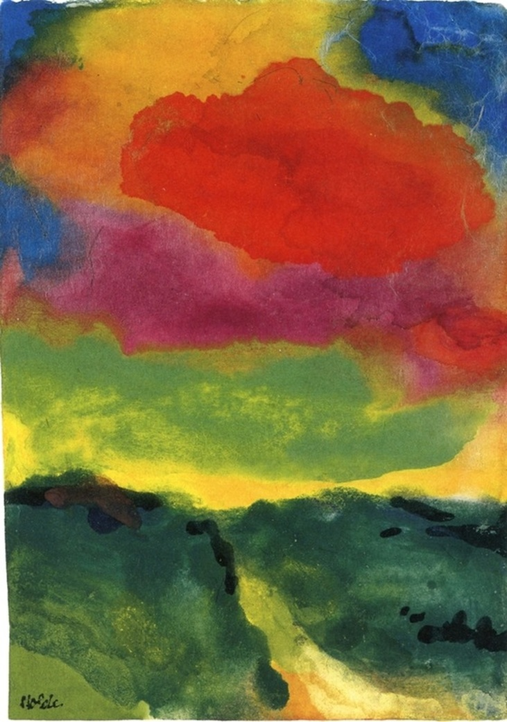 Green Landscape with Red Cloud by Emil Nolde