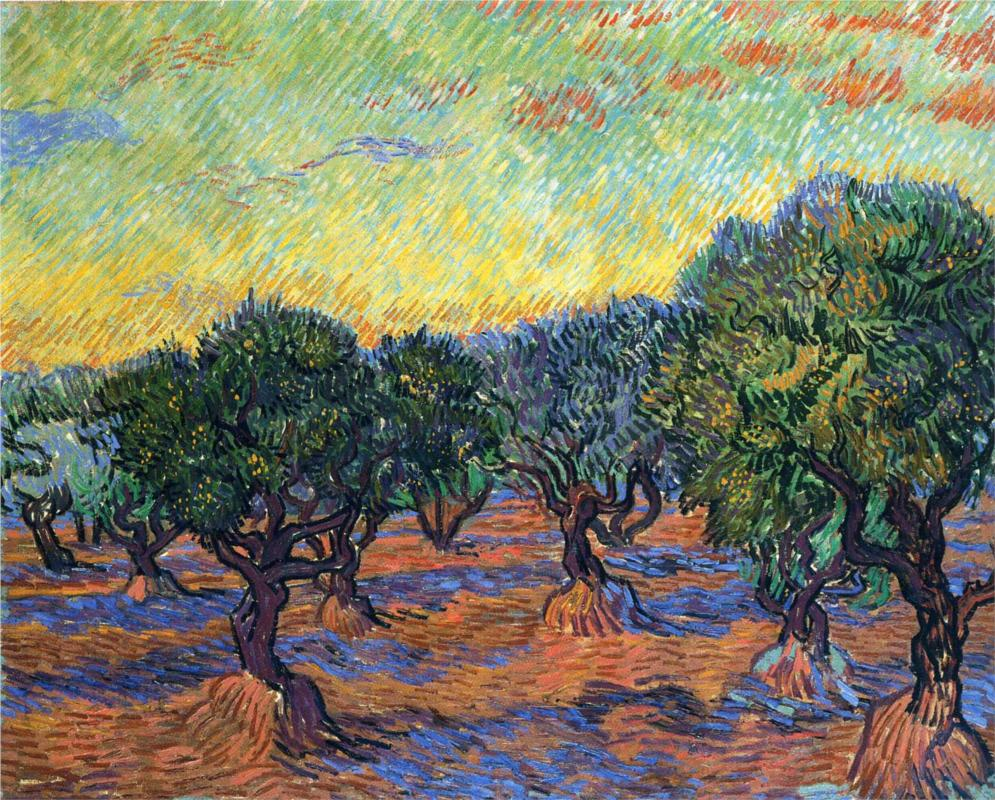 Olive Grove with Orange Sky by Vincent van Gogh