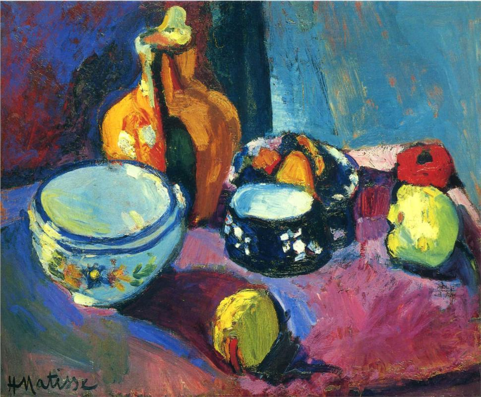 Dishes and Fruit on a Red and Black Carpet by Henri Matisse