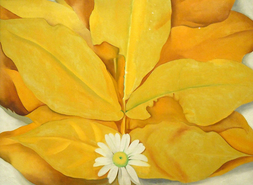 Yellow Hickory Leaves with Daisy ​by Georgia O'Keeffe