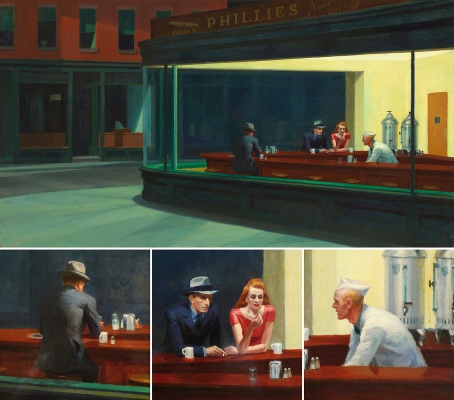 Nighthawks (with details) by Edward Hopper