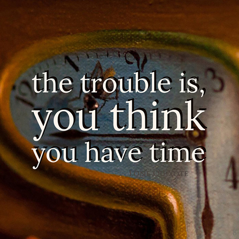 the trouble is, you think you have time... | Lone Quixote