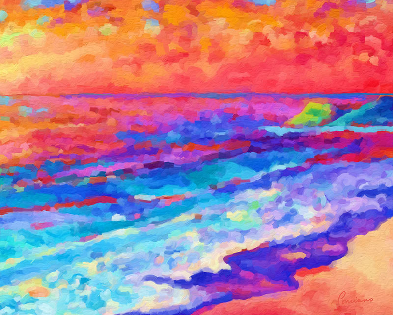 Art Print - Sunset in Red by Lone Quixote ...  A companion piece to Sunset Dancing on Singing Waters