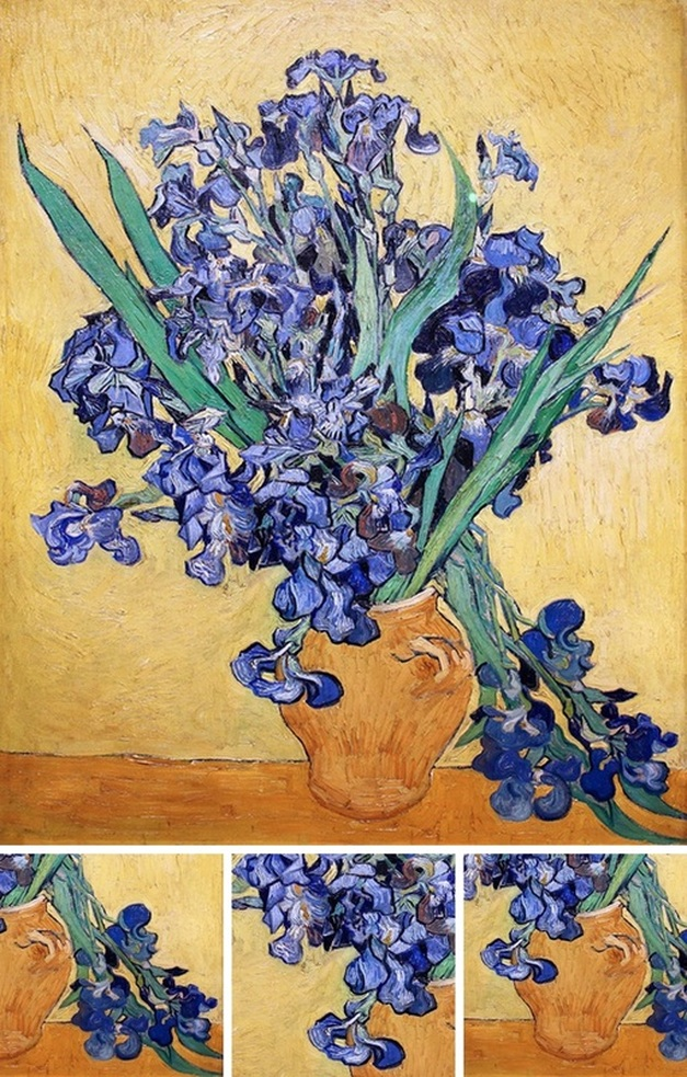 Still Life with Irises (with details) by Vincent van Gogh