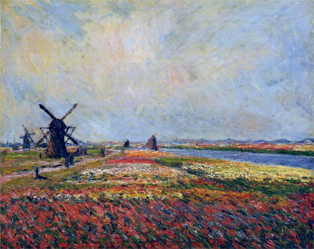 Fields of Flowers and Windmills near Leiden by Claude Monet