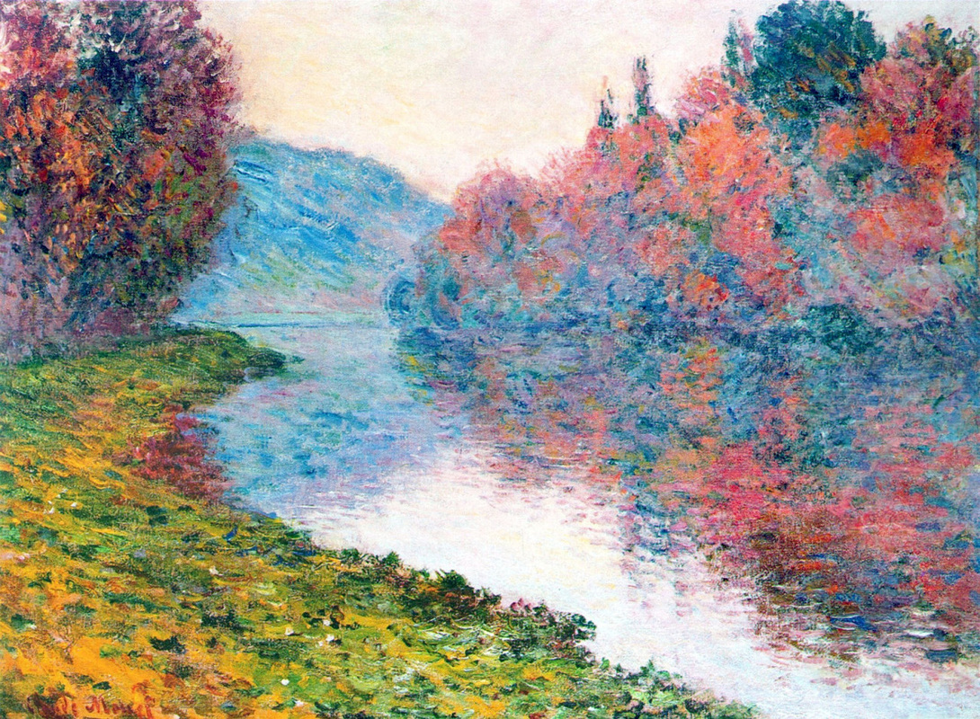 Banks of the Seine at Jenfosse, Clear Weather by Claude Monet | Lone Quixote