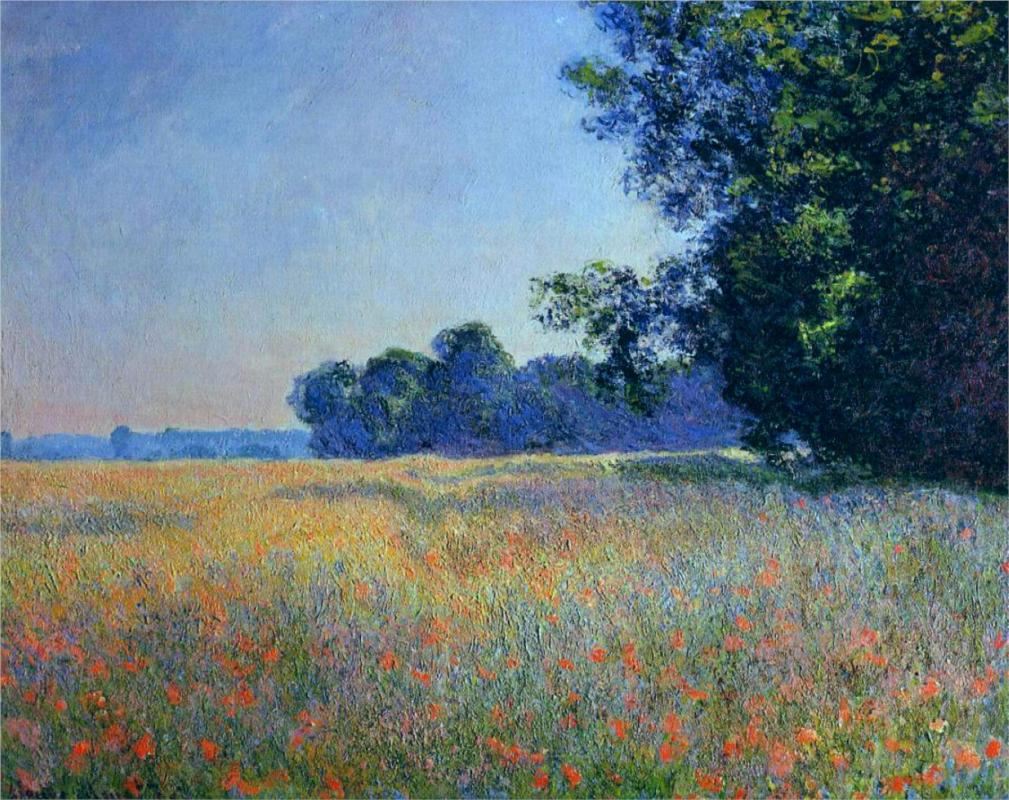 Oat and Poppy Field, Giverny by Claude Monet