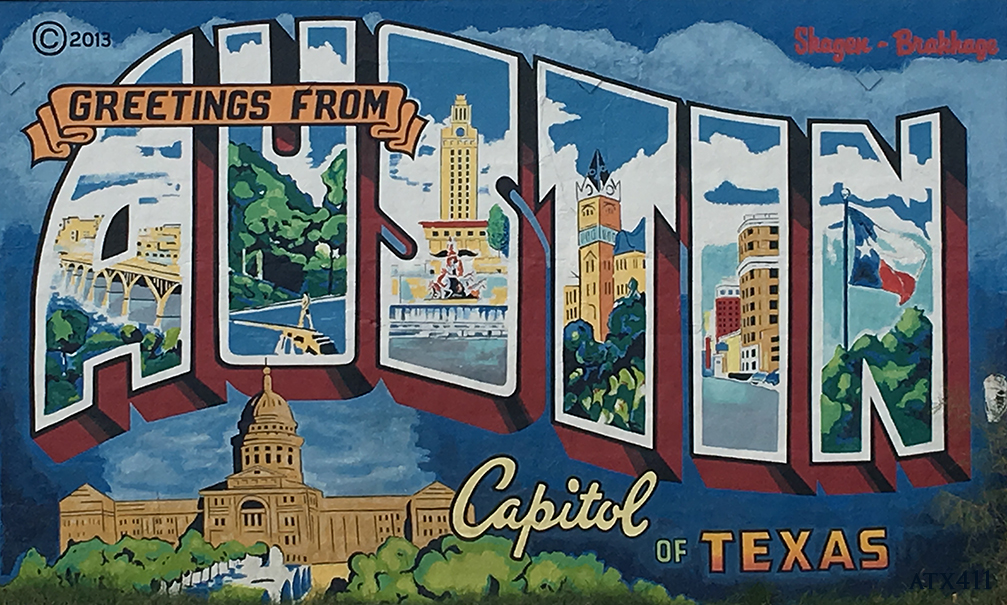 ​Greetings from Austin Postcard Mural was a labor of love by Todd Sanders and Rory Skagen. This amazing piece can be found on the corner of South 1st a