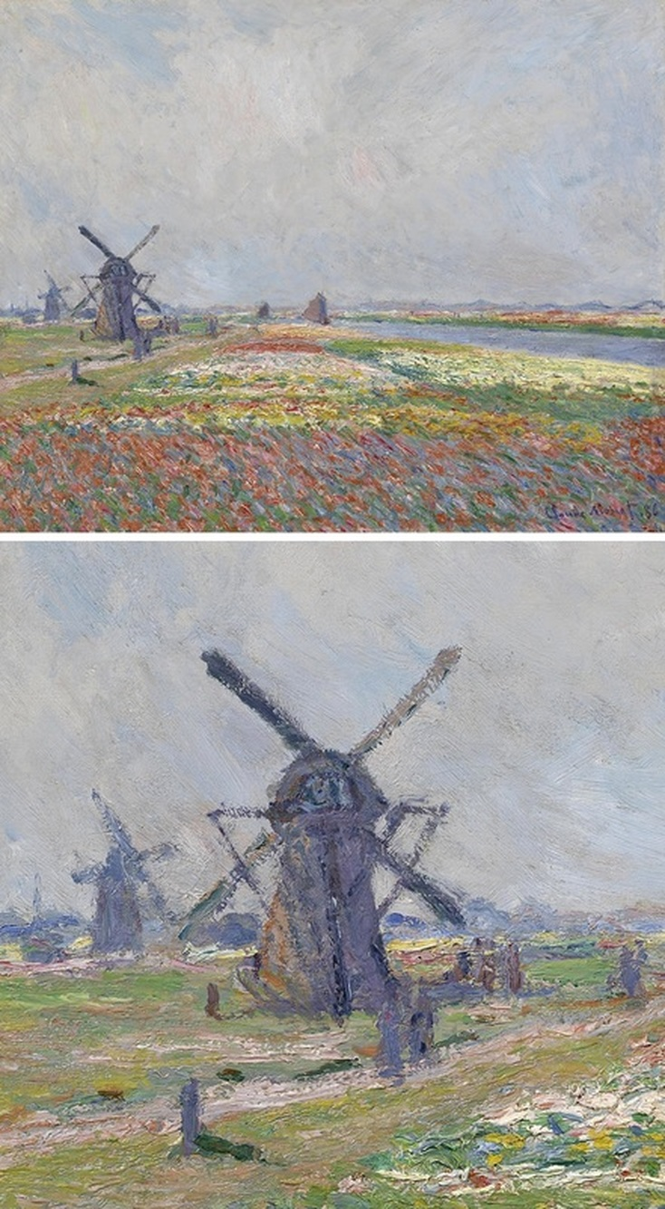 Fields of Flowers and Windmills near Leiden by Claude Monet with Detail View