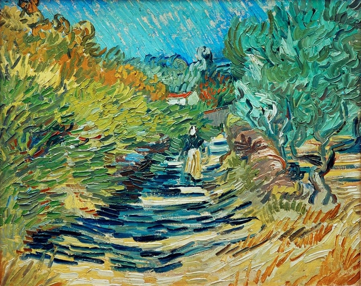 A Road in St. Remy with Female Figure by Vincent van Gogh