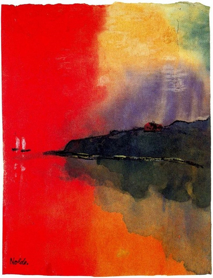 Seacoast (Red Sky, Two White Sails) by Emil Nolde