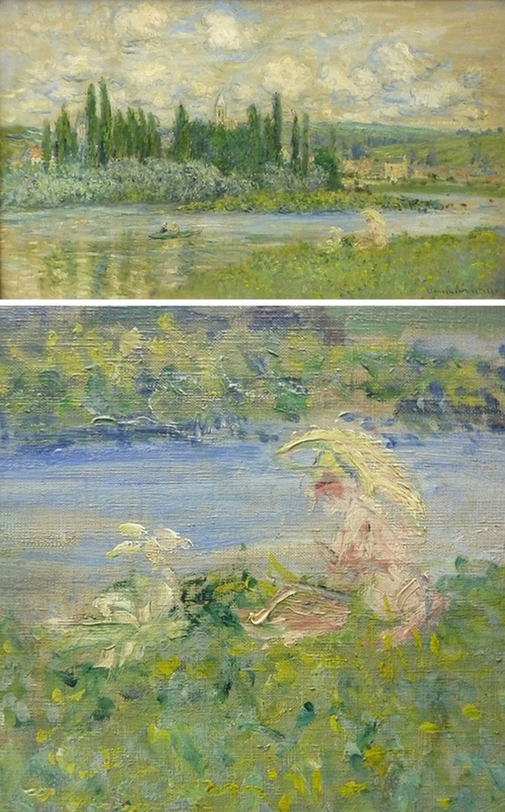 View of Vetheuil by Claude Monet with Detail View