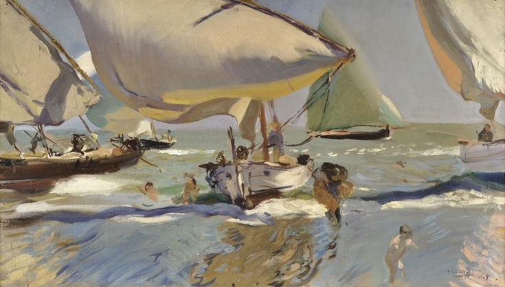 Boats on the Beach by Joaquin Sorolla | Lone Quixote