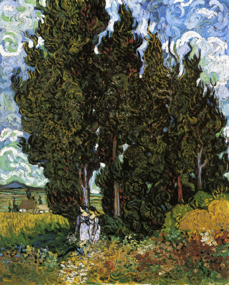Cypresses with Two Women (1889) by Vincent van Gogh