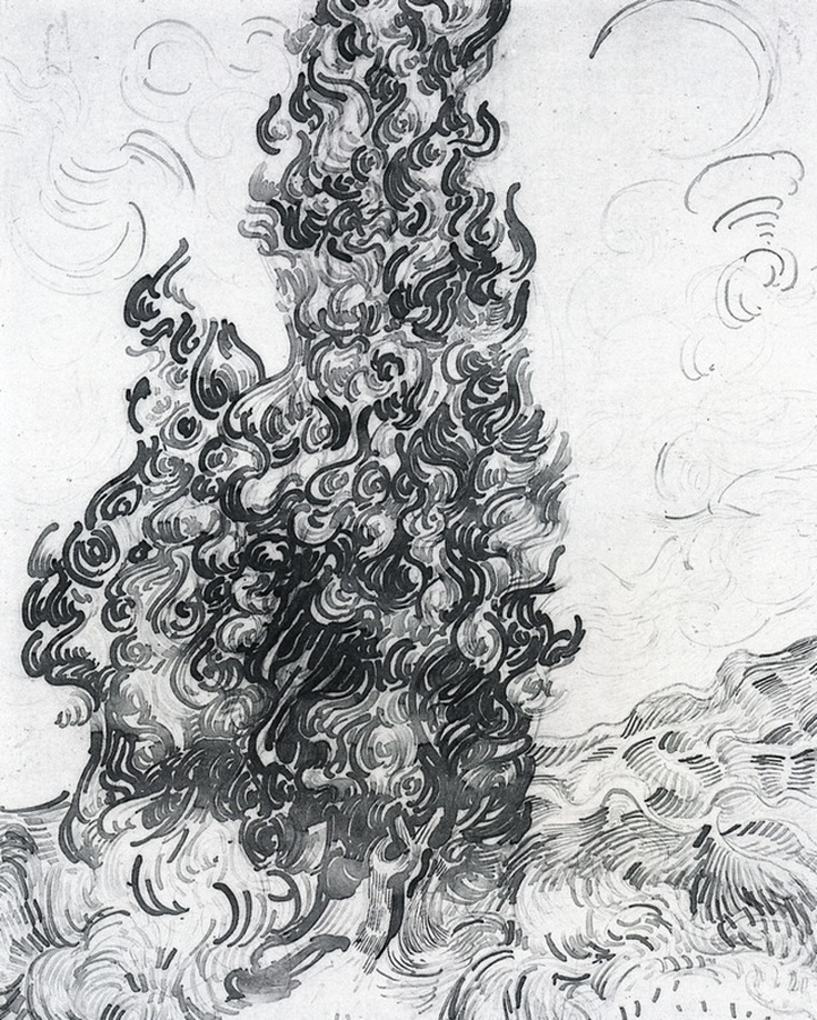 Cypresses (sketch) by Vincent van Gogh | Lone Quixote