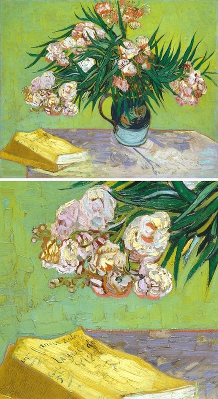 Oleanders and Books by Vincent van Gogh with detail view