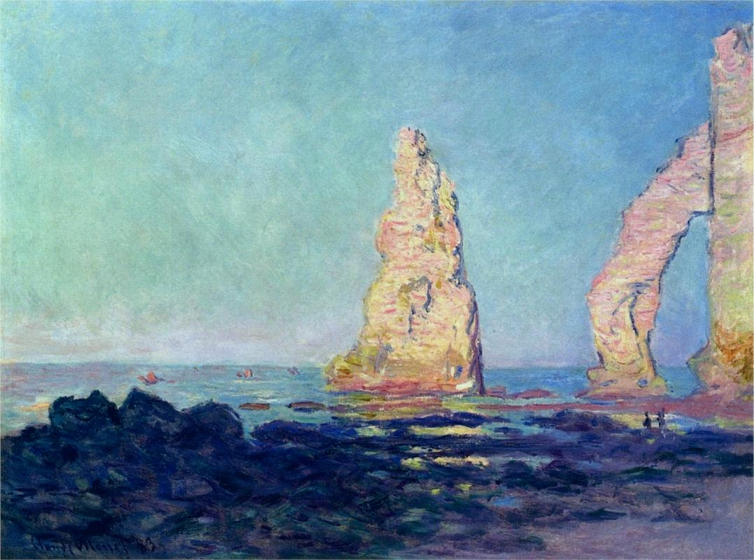 The Needle of Etretat, Low Tide by Claude Monet