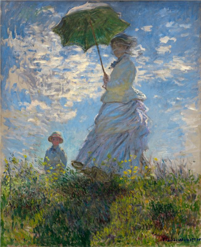 The Promenade, Woman with a Parasol by Claude Monet