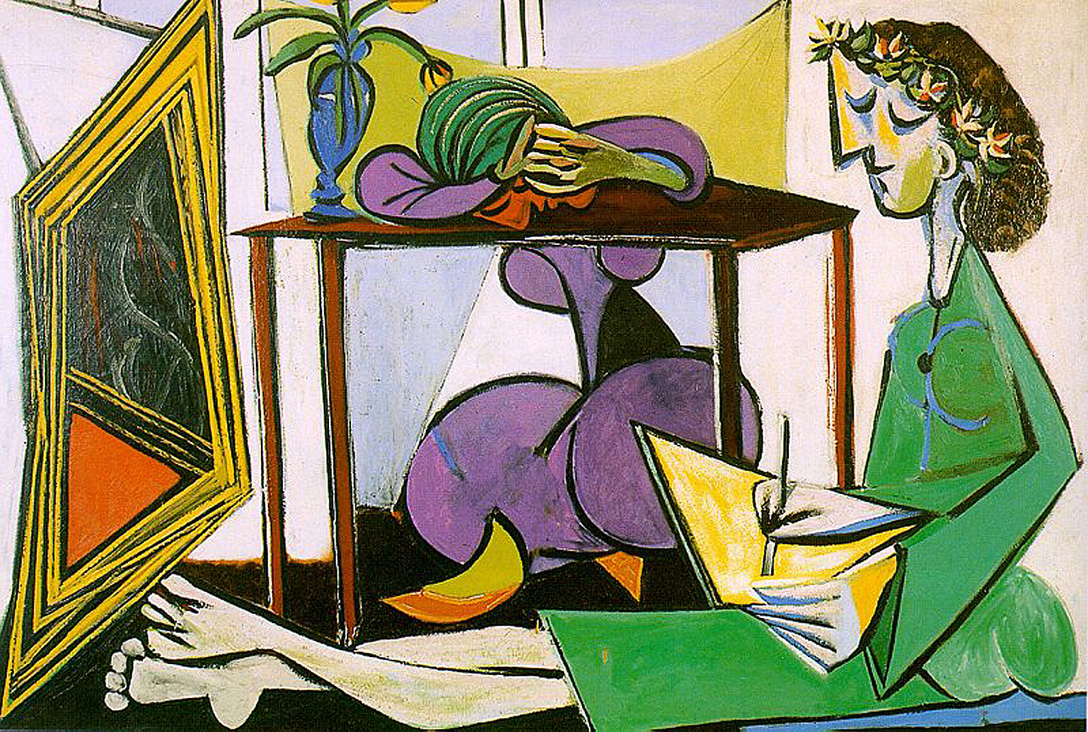 Interior with Girl Drawing by Pablo Picasso