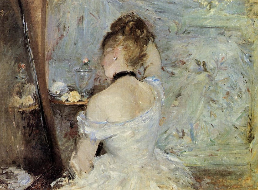 Young Woman at the Mirror by Berthe Morisot | Lone Quixote