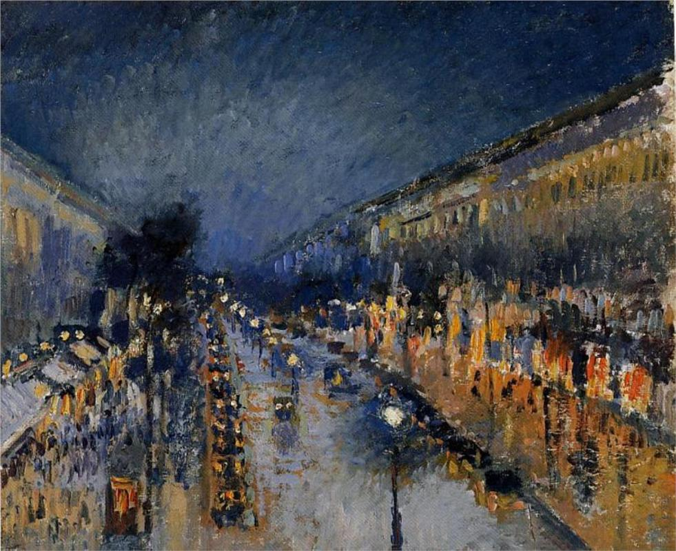 The Boulevard Montmartre at Night by Camille Pissarro | Lone Quixote