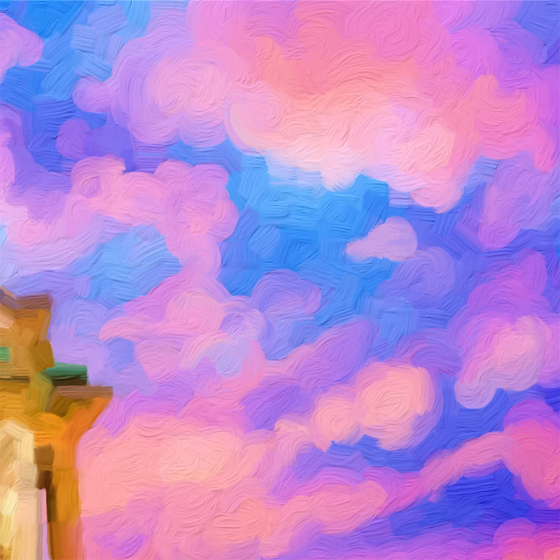 Work in Progress - Detail View of Tower with Skies Full of Wonder