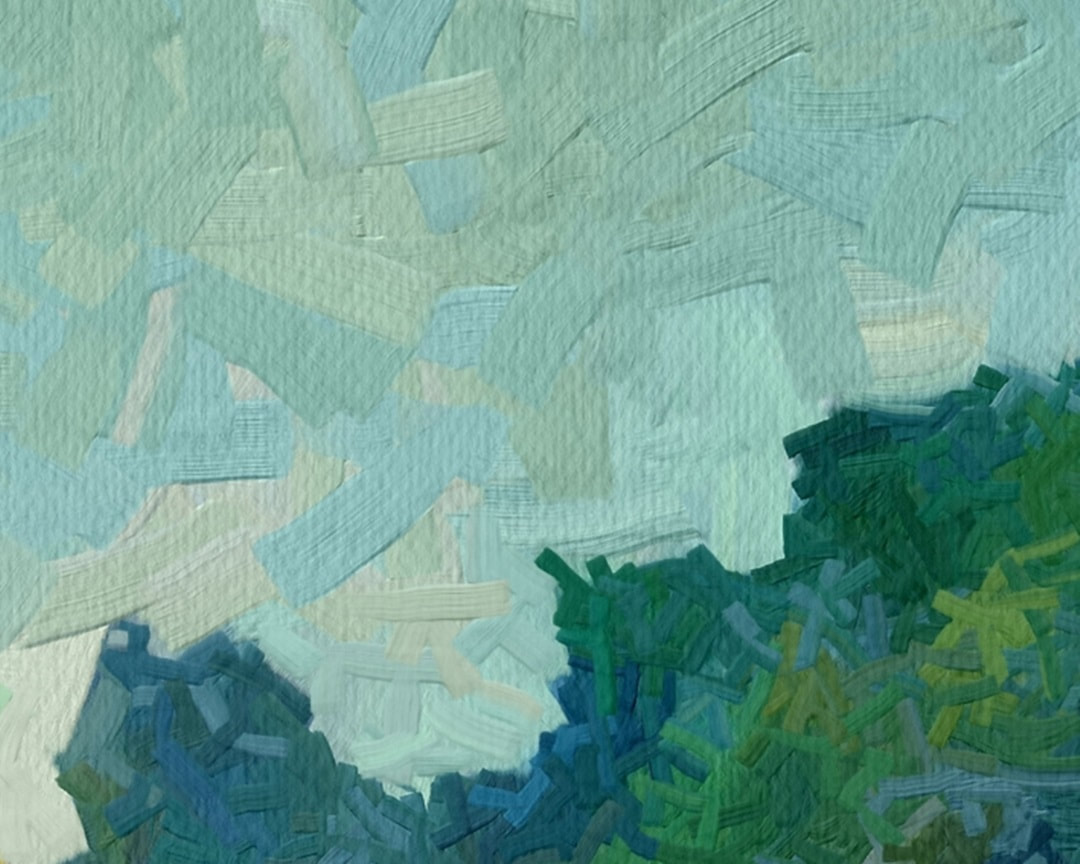 Work in Progress - Detail View of Untitled Painting with Pastel Skies