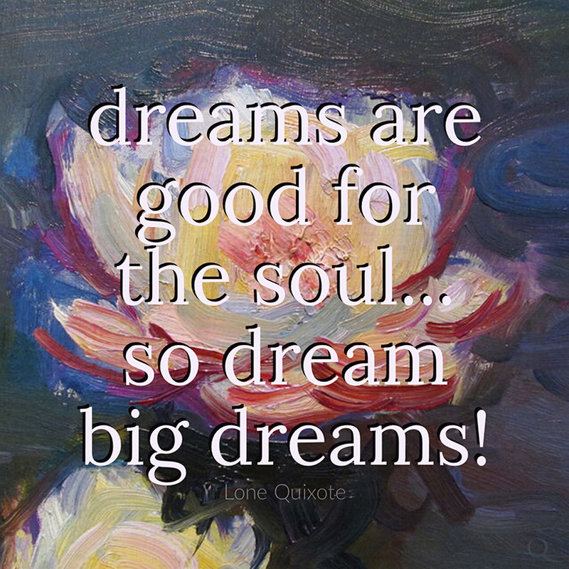 dreams are good for the soul... so dream big dreams! ​-- Lone Quixote