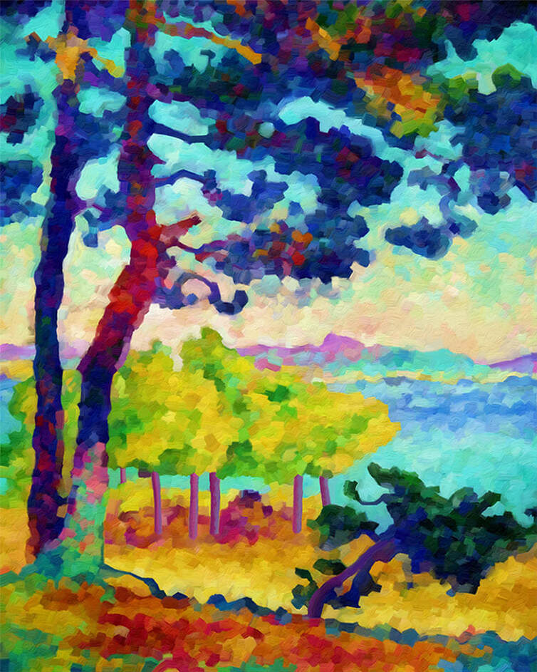 Art Print - Afternoon in Solitude This is my humble rendition of Afternoon in Pardigon. I decided to paint this particular image because this is the one that started my fascination and admiration of Henri-Edmond Cross' work.  I was absolutely taken by his brushwork and use of color ... I hope you enjoy my modest rendition as much as I enjoyed painting it.