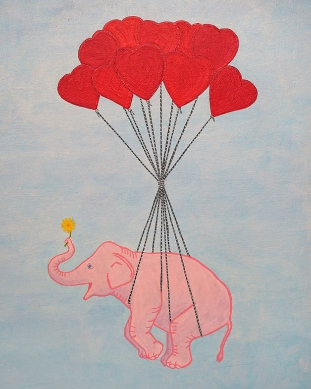 Pink Elephant with Blue Sky (Study) by Lone Quixote