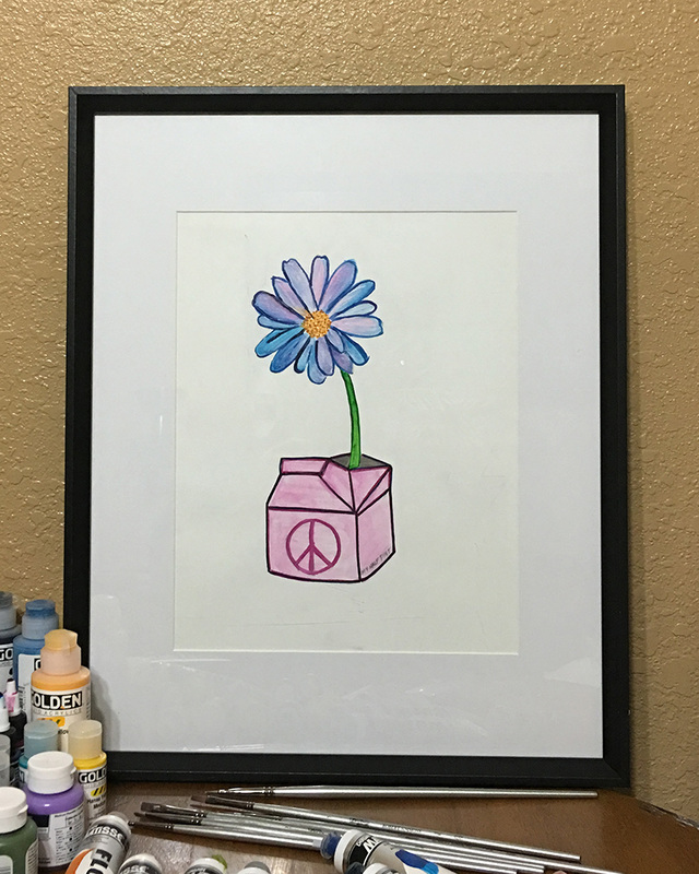 Had this frame left over... could not use it due to a scratch... but I was curious how this flower painted on mixed media paper would look framed. Overall I think it looks good. Seeing this painting framed makes me happy... and inspired to complete a few previously started paintings.  | Lone Quixote