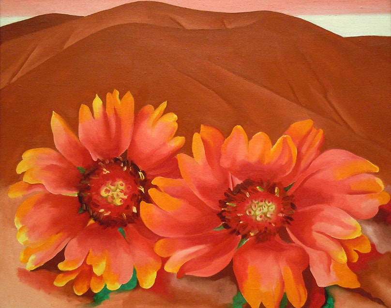 Red Hills with Flowers by ​Georgia O'Keeffe