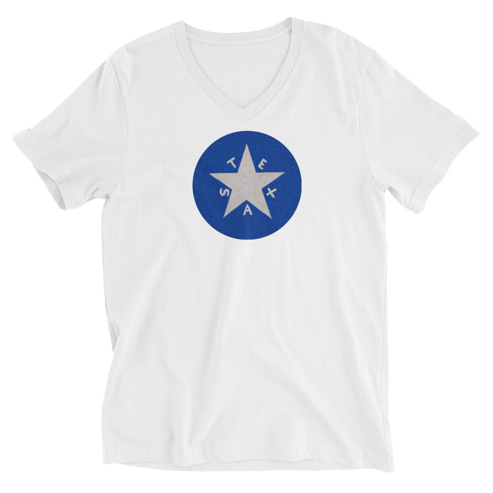 V-Neck T-Shirt - The LDZ Flag Emblem  You've now found the staple t-shirt of your wardrobe. It's made of a thicker, heavier cotton, but it's still soft and comfy. And the double stitching on the neckline and sleeves add more durability to what is sure to be a favorite!