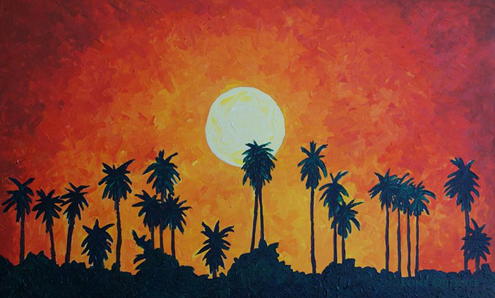 Palm Trees with Setting Sun by Lone Quixote