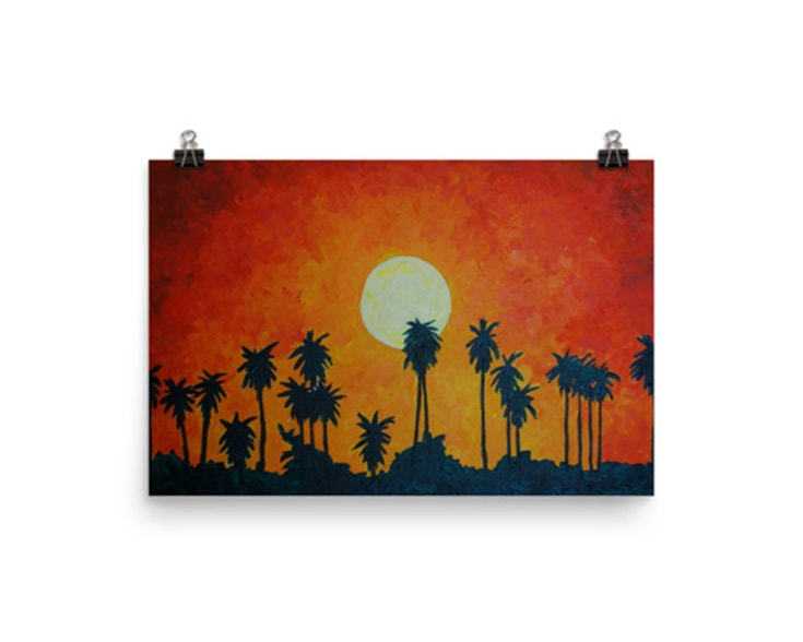 Palm Trees with Setting Sun Art Print