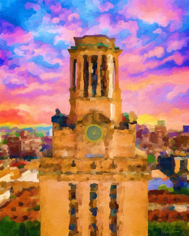 Art Print - Tower with Skies Full of Wonder / Tower at the University of Texas in Austin