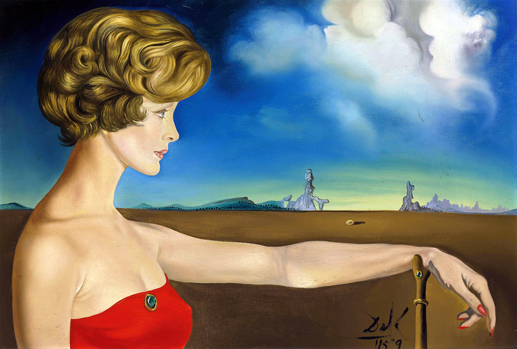 Young Woman in a Landscape (1959) by Salvador Dali